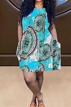 Lake Blue Positioning Print Cute Round Neck Sleeveless Loose Dress F88374-6