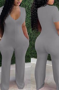 Grey Deep V Neck Loose Short Sleeve Pure Color Wide Leg Jumpsuits F88372-5