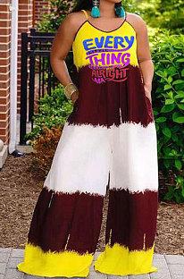 Sexy Women Letters Printing Pocket Condole Belt Plus Wide Leg Jumpsuit DLY8024