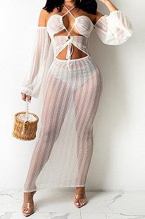 White Sexy Mesh Pure Color Mid Waist Long Sleeve Halter Neck Long Dress YF9107-2
