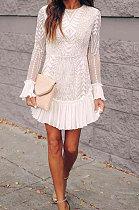 White Autumn Winter Lace Sexy Ruffle Sleeve Trendy Mini Dress Q5030