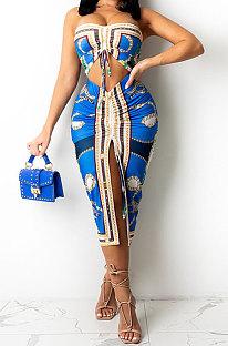 Blue Women Sleeveless Strapless Printing Shirred Detail Split Backless Skirts Sets YF9129-1