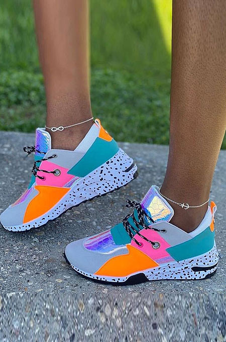Sporty Color Patchwork Causal Tied Dad Shoes YYR99