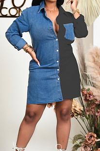 Black Lapel Neck Jean Spliced Long Sleeve Casual Shirt Dress WY6831-3