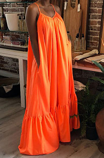 Women Sexy Condole Belt Sleeveless Pure Color Loose Swing Plus Long Dress AR210404
