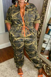 Camouflage Lapel Neck Half Sleeve Zipper Collect Waist Wide Leg Jumpsuits YM204
