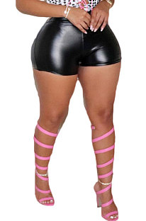 Black Casual Solid Color Leather Shorts BLE2506-1