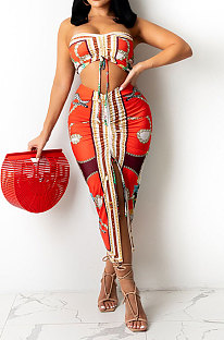 Red Women Sleeveless Strapless Printing Shirred Detail Split Backless Skirts Sets YF9129-2