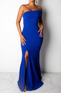 Dark Blue Sexy Strapless Women Bodycon Split Long Evening Dress R6200-2