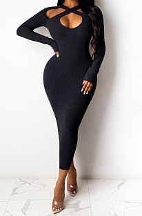 Navy Blue Euramerican Women Sexy Trendy Off Shoulder Solid Color Ribber Long Sleeve Midi Dress FFE026 -2