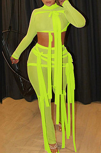 Neon Green Half Turtle Neck Dew Abdominal Knotted Mesh Long Sleeve Long Pants Sets SZS9083-4