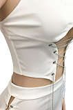White Solid Color Fashion Women Condole Belt Chain Spliced Hollow Out Skirts Sets XZ5230-1
