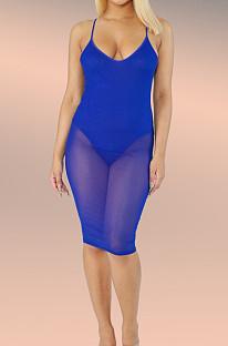 Blue Mesh Perspective Spliced Condole Belt Midi Dress ZQ9212-1