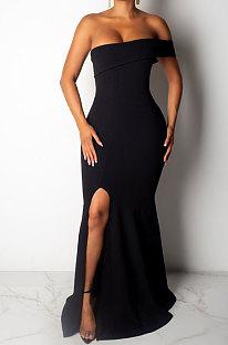 Black Sexy Strapless Women Bodycon Split Long Evening Dress R6200-1