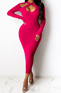 Rose Red Euramerican Women Sexy Trendy Off Shoulder Solid Color Ribber Long Sleeve Midi Dress FFE026 -3