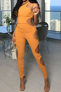 Yellow Women Pure Color Hollow Out One Shoulder Sleeveless Bodycon Jumpsuits FFE167