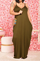 Olive Green Pure Color Condole Belt V Neck Loose Long Dress With A Pocket OH8075-2