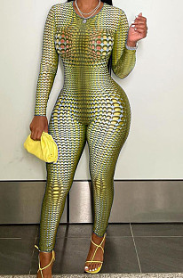 Dark Yellow Positioning Print Round Neck Back Stealth Zipper Long Sleeve Bodycon Jumpsuits WY6827-1