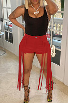 Red Pure Color Mid Waist PU Leather Pants Tassel Shorts MD421-4