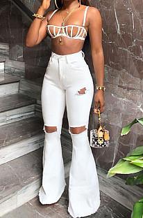 White Mid Waist Cotton High Elastic Hole Jean Long Pants MD159-2
