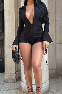 Black Summer Lapel Neck Deep V Collar Ruffle Long Sleeve Romper Shorts ZDD31153-1