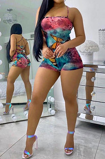 Blue Pink Sexy Butterfly Printing Strapless Sleeveless Tied Romper Shorts BYL9007