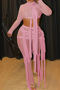 Pink Half Turtle Neck Dew Abdominal Knotted Mesh Long Sleeve Long Pants Sets SZS9083-3