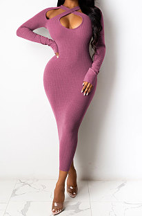 Pink Euramerican Women Sexy Trendy Off Shoulder Solid Color Ribber Long Sleeve Midi Dress FFE026 -1