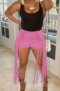 Pink Pure Color Mid Waist PU Leather Pants Tassel Shorts MD421-2
