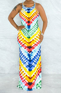 Rainbow Printing Mid Waist Condole Belt Backless Long Dress YF9139