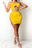 Yellow Solid Color Fashion Women Condole Belt Chain Spliced Hollow Out Skirts Sets XZ5230-3