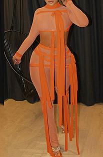 Orange Half Turtle Neck Dew Abdominal Knotted Mesh Long Sleeve Long Pants Sets SZS9083-2