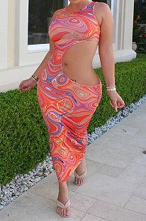Pink Sexy Mid Waist Sleeveless Dew Waist Midi Dress BYL9008