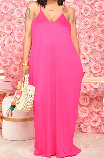Rose Red Pure Color Condole Belt V Neck Loose Long Dress With A Pocket OH8075-1