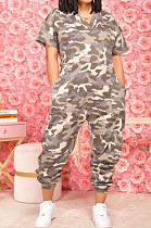 Camouflage Casual V Neck Short Sleeve Wide Leg Jumpsuits OH8080
