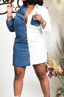 White Lapel Neck Jean Spliced Long Sleeve Casual Shirt Dress WY6831-4