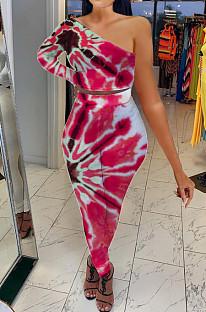 Red Contrast Color Oblique Shoulder One Sleeve Long Skirts Sets YMT6214-1