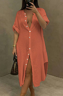 New Sexy Single-Breasted Pure Color Blouse Beach Dress ACF6005
