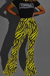 Yellow Casual Round Neck Letter Print Short Sleeve Mid Waist Long Flare Pants Sets YMT6213-3