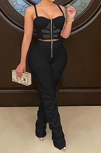Black Women Solid Color Condole Belt Strapless Zipper Tank Long Pants Sets XZ5215-2