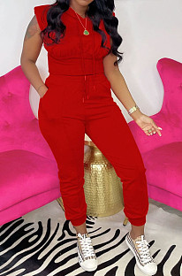 Red Casual Hoodie Sleeveless With Pocket Drawstring Long Pants Sports Two Piece OH8081