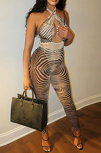 Khaki Positioning Print Halter Neck Strapless Hollow Out Backless Bodycon Jumpsuits SZS8030-3