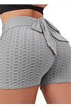 Grey Yoga Tight Back Bowknot HipRaising Shorts XHP0268-6