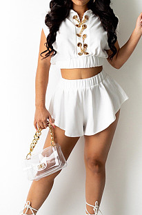 White Notched Neck Sleeveless Eyelet With Gold Chain Crop Top Shorts Sets BM7199