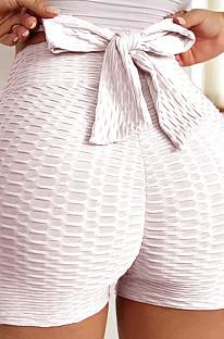 Pink Yoga Tight Back Bowknot HipRaising Shorts XHP0268-8