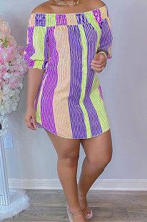Purple Sexy Fashion Off Shoulder Irregularity Colorful Mini Dress K2145-1