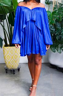 Blue Chiffon Pure Color A Word Shoulder Long Sleeve Loose Waist Casual Dress JL19184-3