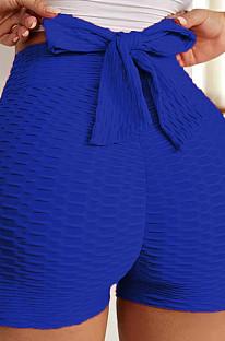 Blue Yoga Tight Back Bowknot HipRaising Shorts XHP0268-1