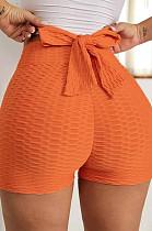 Orange Yoga Tight Back Bowknot HipRaising Shorts XHP0268-4