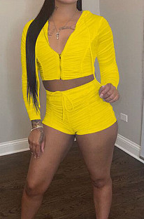 Yellow Ruffle Pure Color Hooded Zipper Long Sleeve Crop Top  Drawstring Shorts Sports Sets LM88801-2